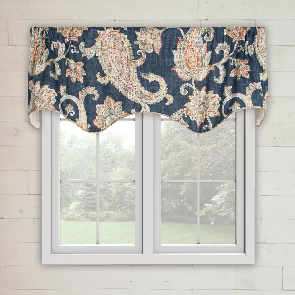 Ellis Curtain Malang 12 in. L Cotton Lined Scallop Valance in Sapphire