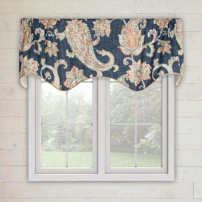 Malang 15 in. L Cotton Lined Scallop Valance in Sapphire