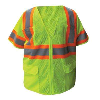 Size Extra-Large Lime ANSI Class 3 Poly Mesh Safety Vest with 4 in. Orange and 2 in. Silver Retro Reflective Striping