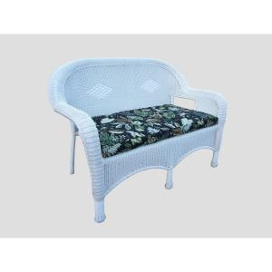 White Wicker Outdoor Loveseat with Black Cushions by