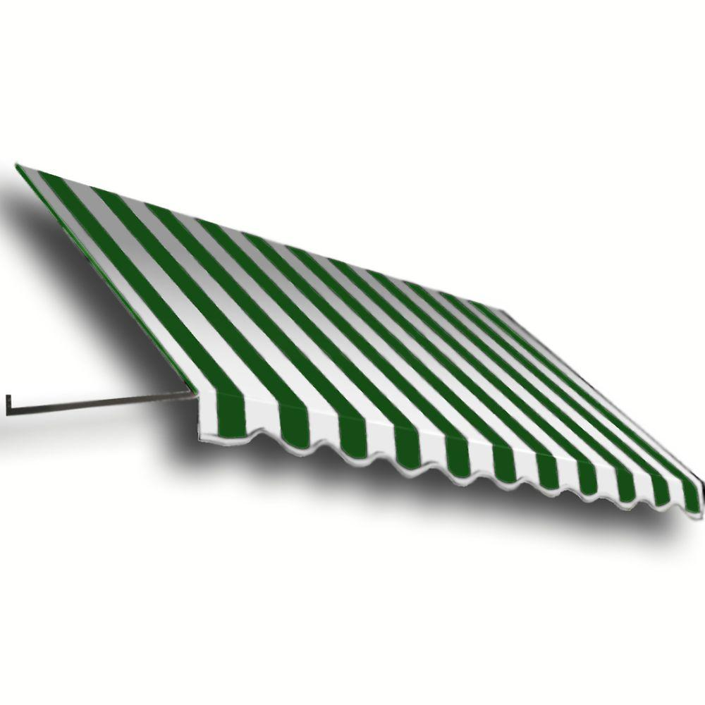 AWNTECH 12 ft. Dallas Retro Window/Entry Awning (16 in. H x 30 in. D) in Forest/White Stripe