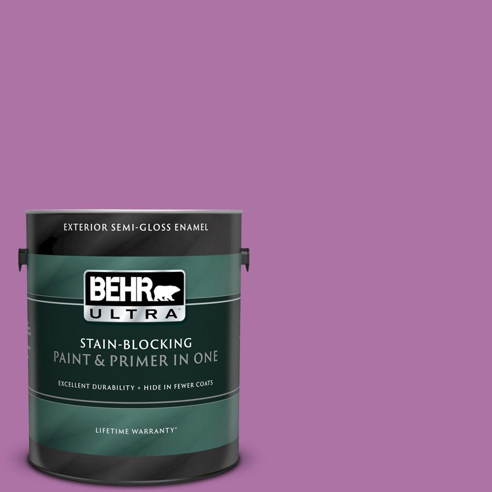 Behr Ultra 1 Gal 670b 6 Orchid Kiss Semi Gloss Enamel Exterior Paint And Primer In One 585301 The Home Depot