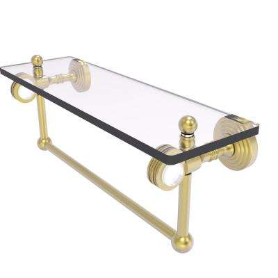 Pacific Grove Collection 16 Inch Glass Shelf with Towel Bar and Dotted Accents in Satin Brass