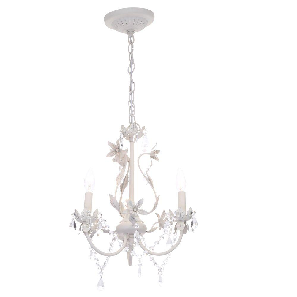 Hampton Bay Kristin 3-Light Antique White Hanging Mini Chandelier ...