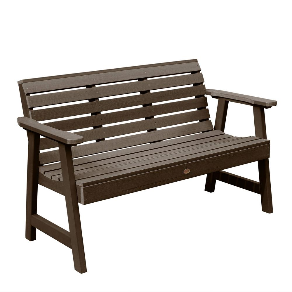 Highwood Weatherly 48 in. 2-Person Weathered Acorn Recycled Plastic Outdoor Garden Bench