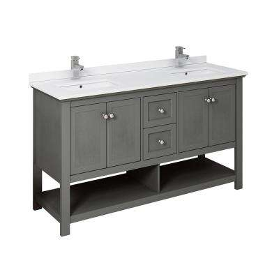 Manchester Regal 60 in. W Bathroom Double Vanity in Gray Wood with Ceramic Vanity Top in White with White Basins