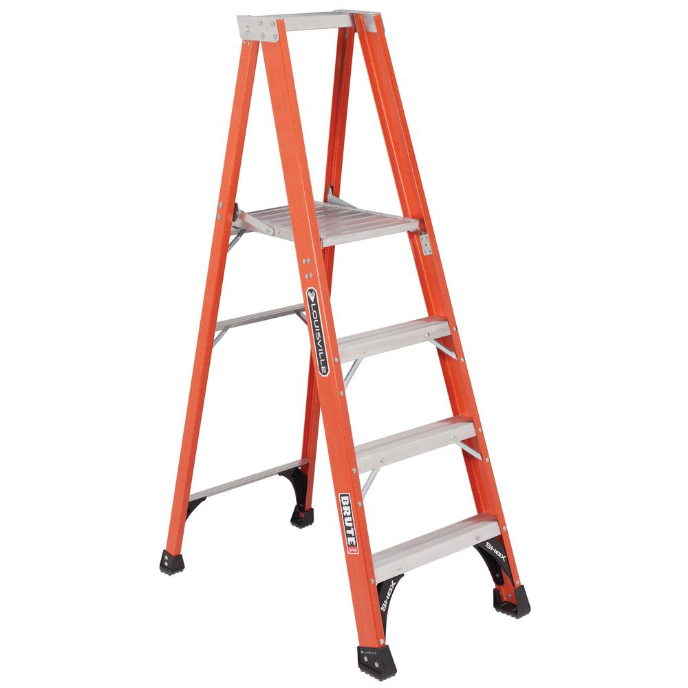 Louisville Ladder 4 ft. Fiberglass Platform Step Ladder with 375 lbs. Load Capacity Type IAA Duty Rating