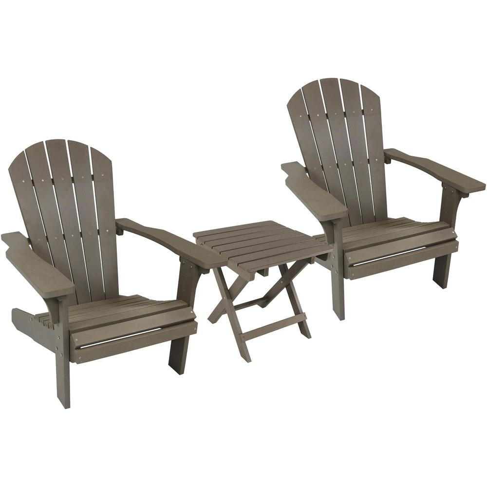 All Weather Gray Plastic Patio Adirondack Chair With Side Table Set Of 2