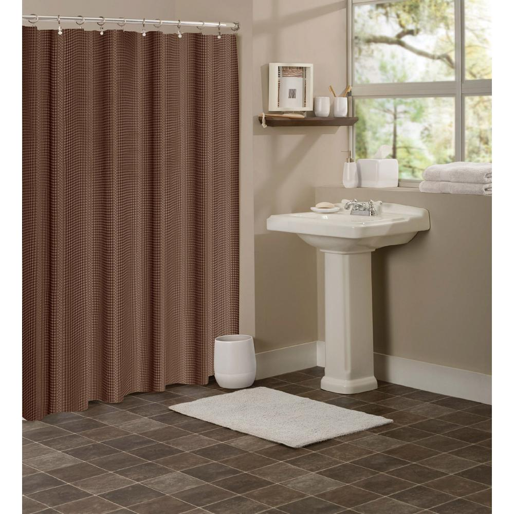 Dainty Home Hotel Collection Waffle 72 In Chocolate Brown Shower Curtain