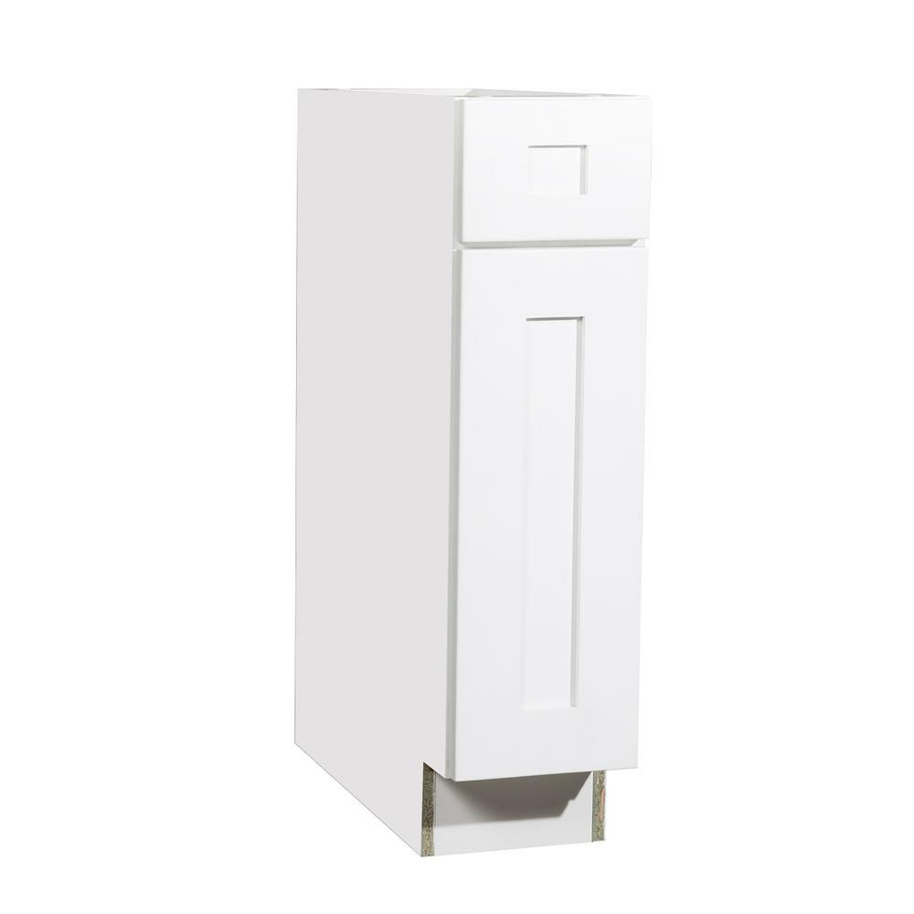 Krosswood Doors Ready to Assemble 9x34.5x23.7 in. Shaker 1 Drawer 1 Door Base Cabinet in White with Soft-Close