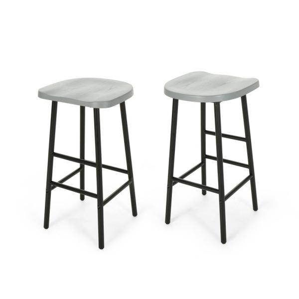 Awe Inspiring Noble House Merlyne 29 75 In Gray Wooden Bar Stools With Cjindustries Chair Design For Home Cjindustriesco