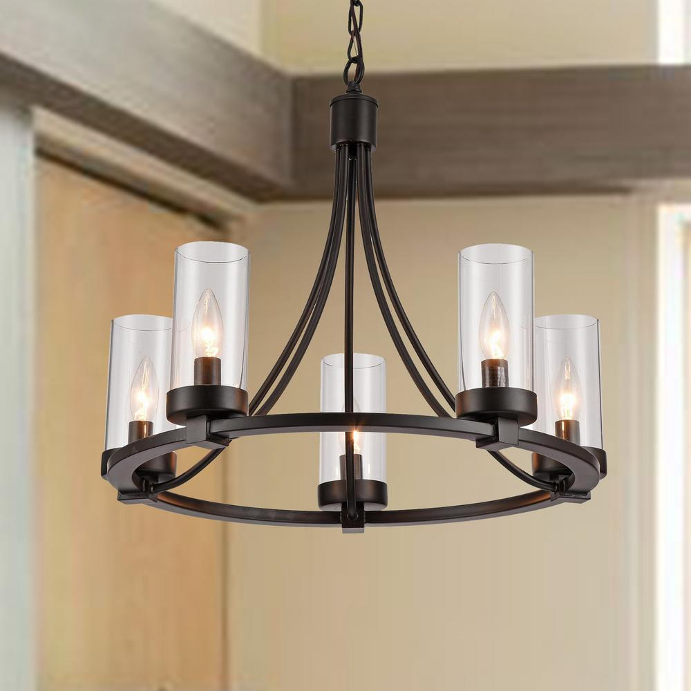 Warehouse Of Tiffany Newton 5 Light Black Pendant With Gl Shade