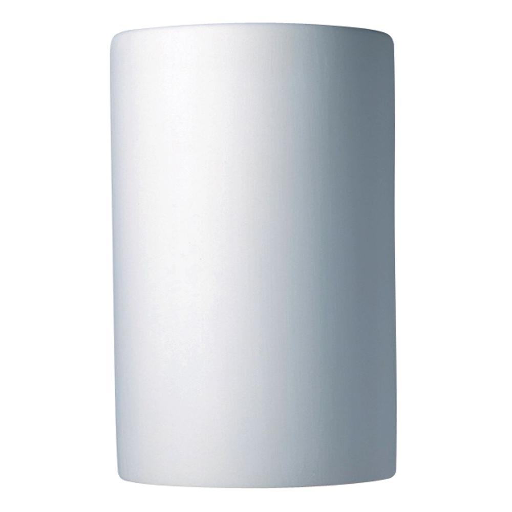 Leonidas 1-Light Paintable Ceramic Bisque Large Cylinder Closed Top Sconce