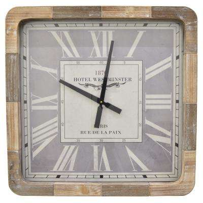 25 in. Brown Natural Wood Square Wall Clock