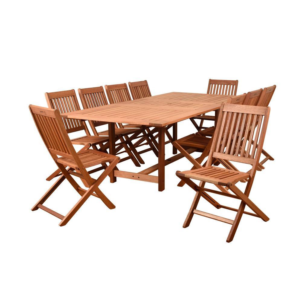 Coronado 11-Piece Wood Rectangular Outdoor Dining Set