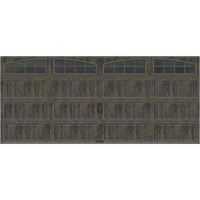 Gallery Collection 16 ft. x 7 ft. 18.4 R-Value Intellicore Insulated Ultra-Grain Slate Garage Door with Arch Window