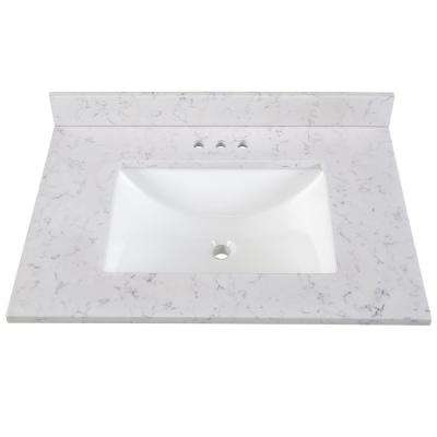 31 in. Stone Effects Vanity Top in Pulsar with White Sink