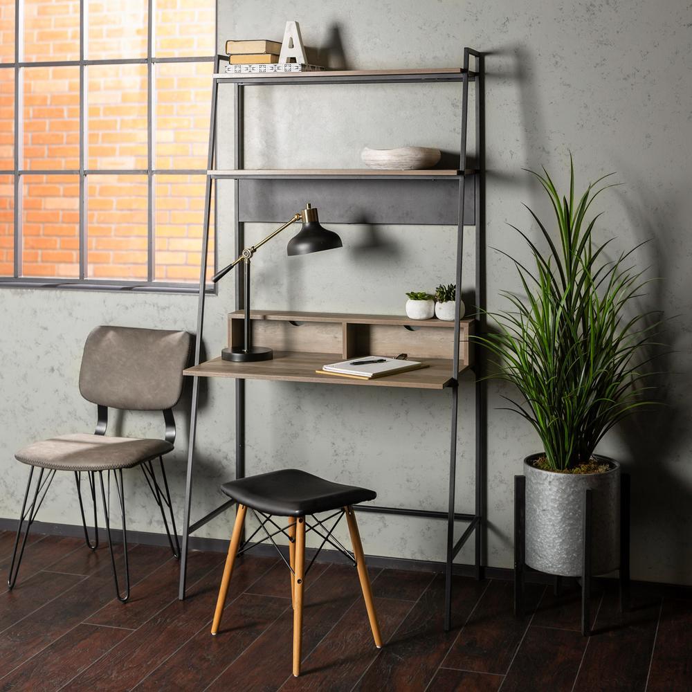 WalkerEdisonFurnitureCompany Walker Edison Furniture Company 36 in. Grey Wash Urban Industrial Mid Century Modern Metal and Wood Ladder Desk, Grey Wash/Black