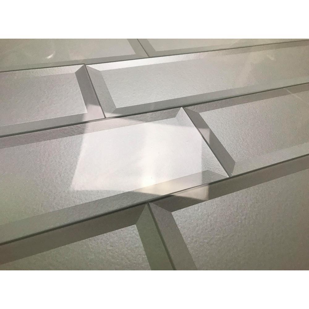 Forever Eternal White Inner Beveled Field 4 in. x 16 in. Glossy Metallic Glass Wall Tile (9 Pk)