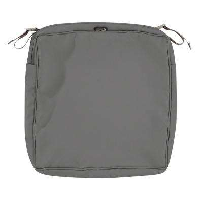 Montlake Fade Safe Light Charcoal 19 In. Square Outdoor Seat Cushion Cover