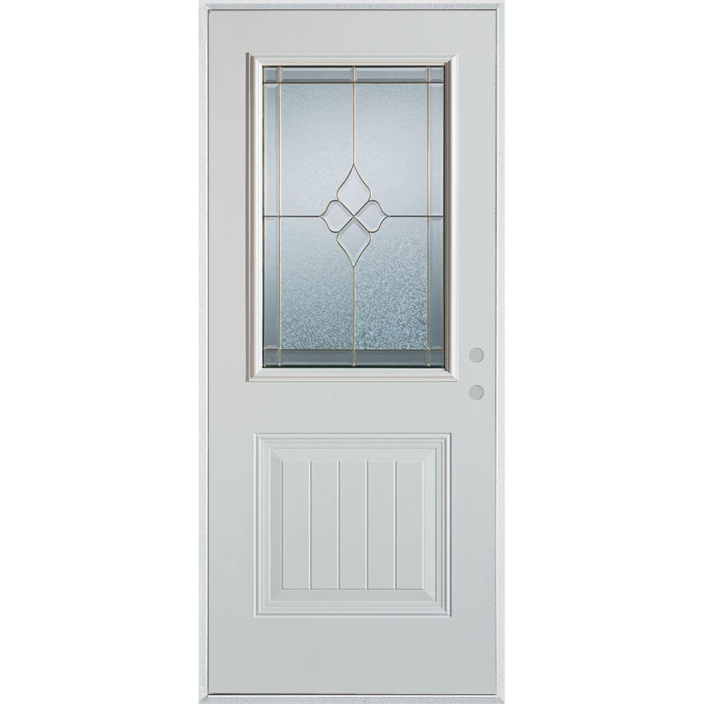 33.375 in. x 82.375 in. Geometric Zinc 1/2 Lite 1-Panel Painted