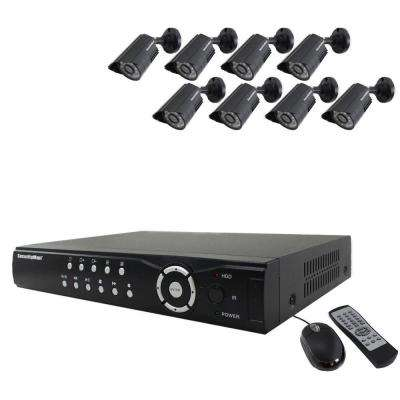 8-Channel H.264 Network DVR System with 8 Indoor/Outdoor Color Camera/Night Vision and Cable