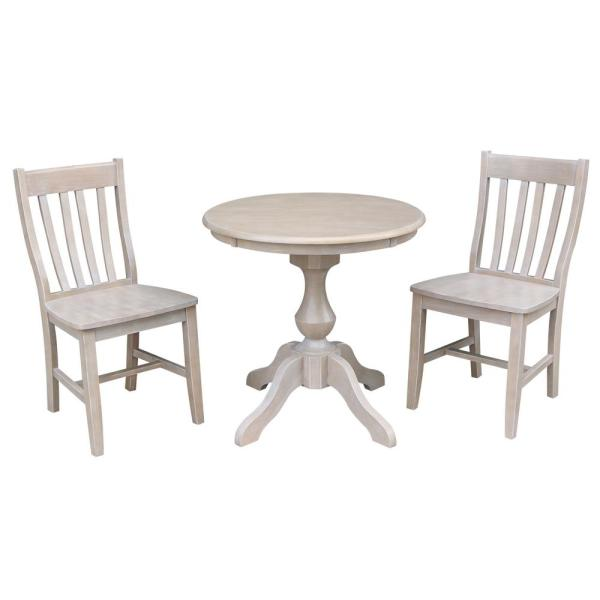 Sophia 3-Piece 30 in. Weathered Taupe Round Solid Wood Dining Set with Cafe Chairs