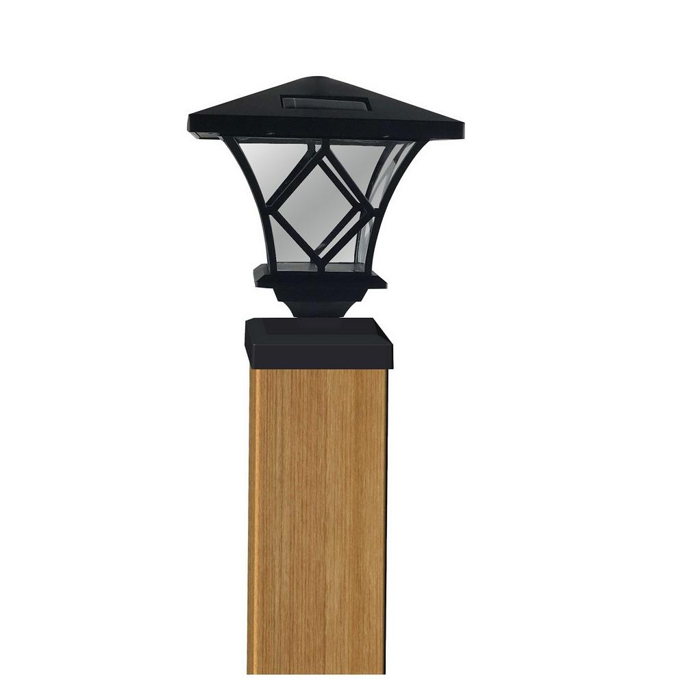Outdoor Post Cap Lights: Moonrays Ridgely-Style Solar Black Outdoor Integrated LED