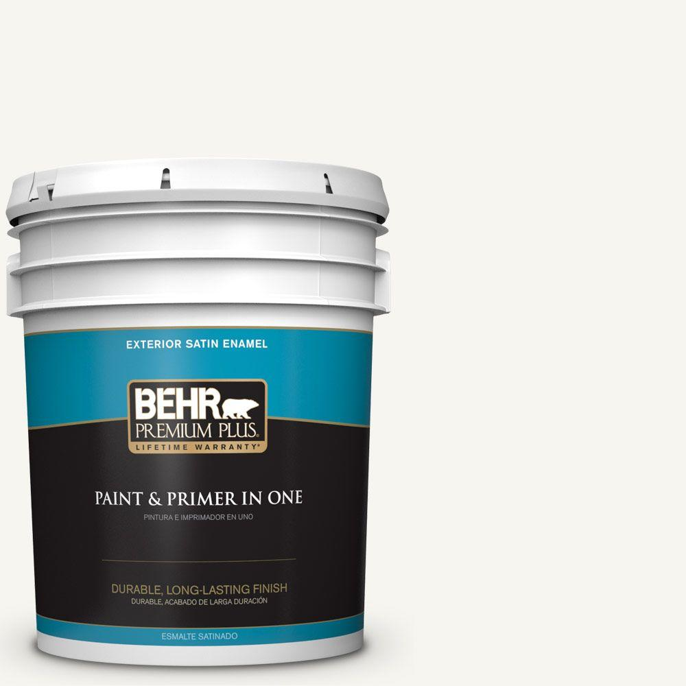 5 gal. #HDC-WR16-01 Snow Day Satin Enamel Exterior Paint