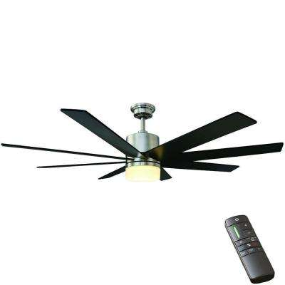 Kingsbrook 60 in. LED Indoor Brushed Nickel Ceiling Fan with Light Kit and Remote Control