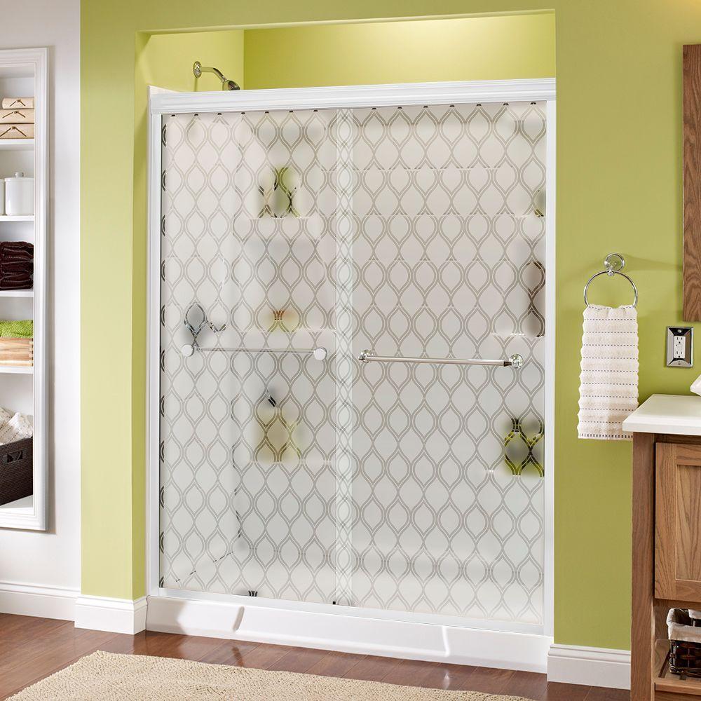 Delta Mandara 60 in. x 70 in. Semi-Frameless Sliding Shower Door in White with Chrome Handle and Ojo Glass