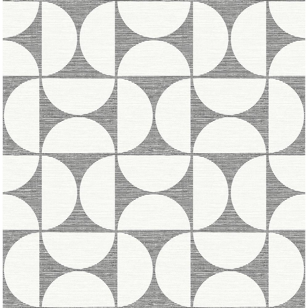 Deedee Black Geometric Faux Grasscloth Black Wallpaper Sample