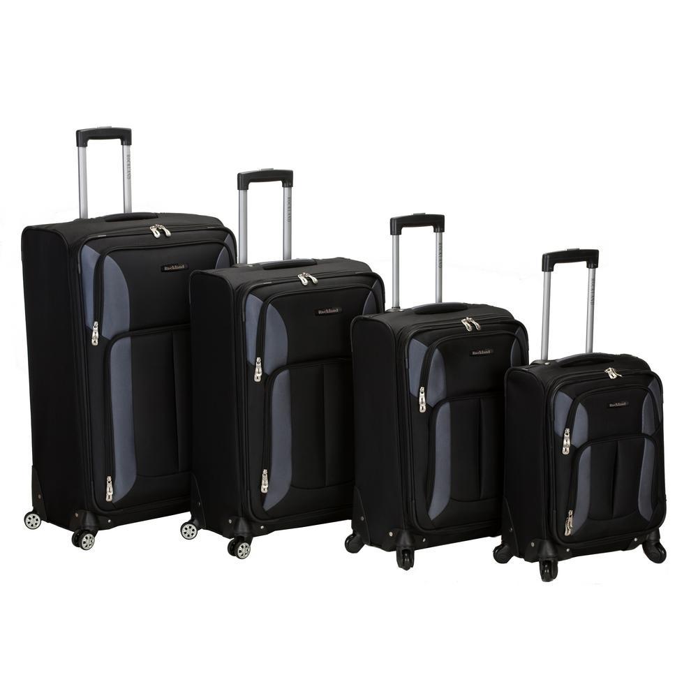 Rockland 4-Piece Impact Spinner Softside Luggage Set, Black