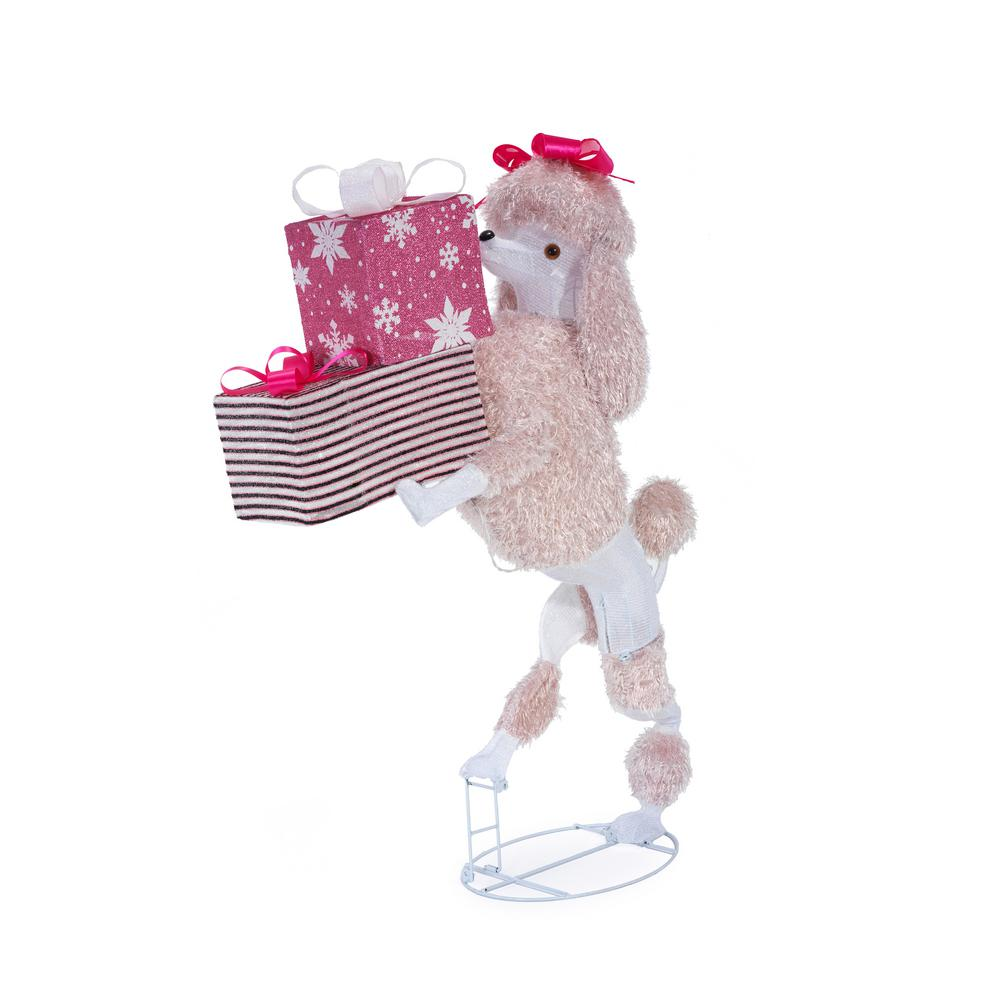 Christmas Toys.Home Accents Holiday 42 In Christmas Cool White Led Poodle With Presents