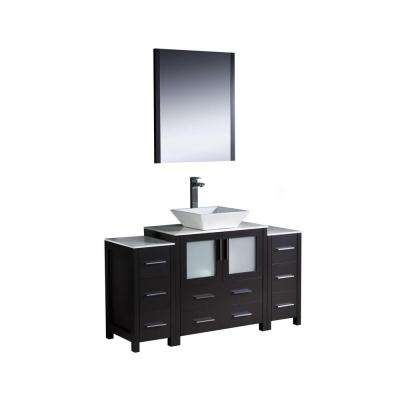 Torino 54 in. Vanity in Espresso with Glass Stone Vanity Top in White with White Basin and Mirror
