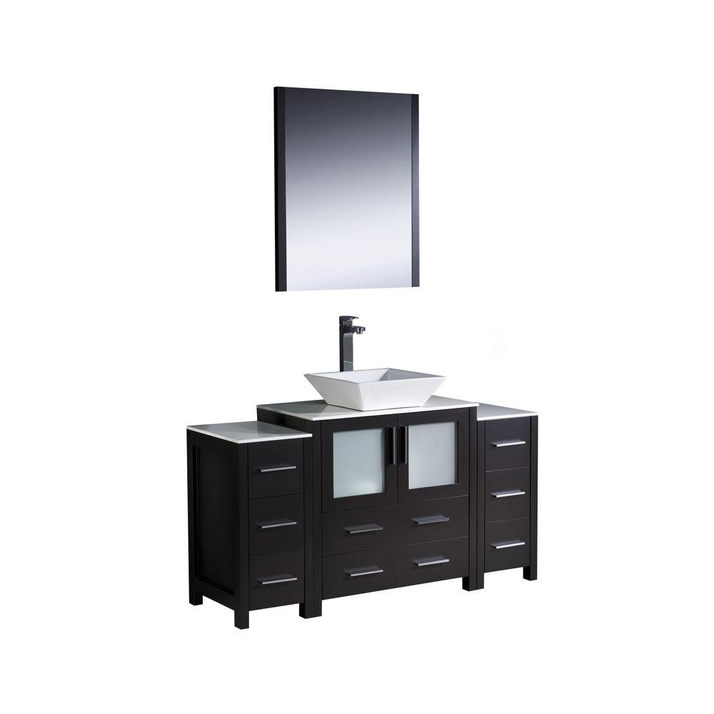 Fresca Torino 54 in. Vanity in Espresso with Glass Stone Vanity Top in White with White Basin and Mirror