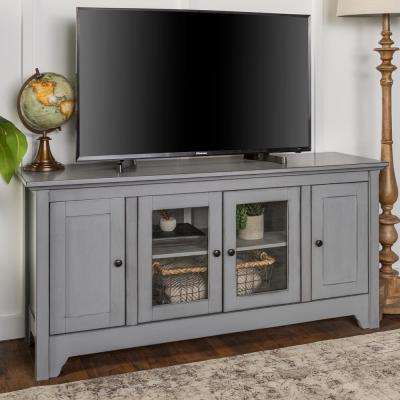 Hastings 53 in. Gray Wood TV Stand 55 in. with Glass Doors