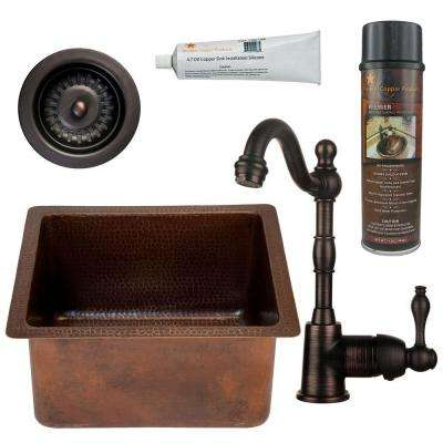 All-in-One Dual Mount Copper 16 in. 0-Hole Rectangular Bar/Prep Sink in Oil Rubbed Bronze
