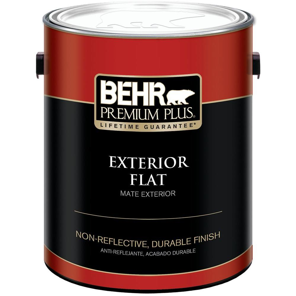 BEHR Premium Plus Gal Ultra Pure White Flat Exterior Paint And - Paint plus