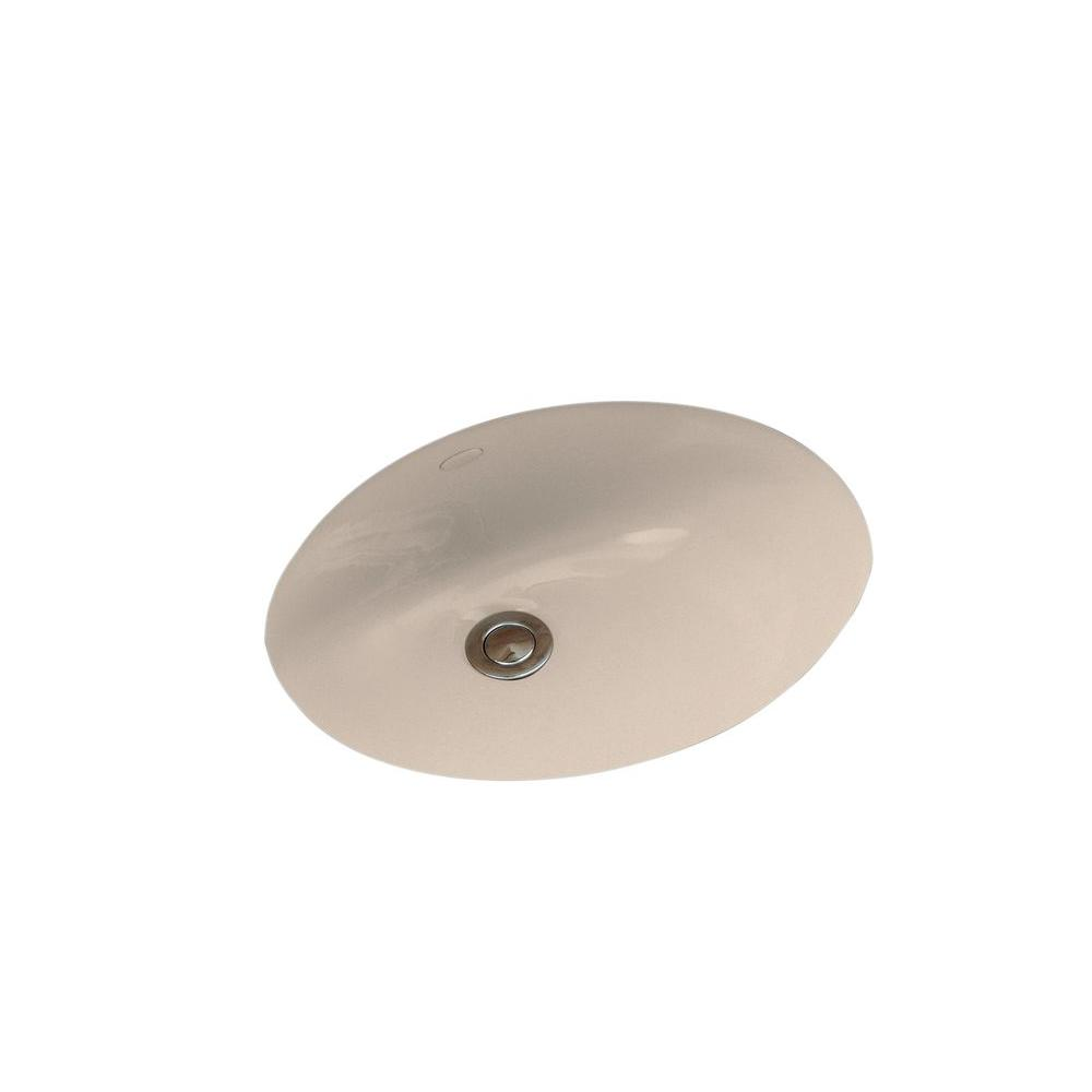 Caxton Vitreous China Undermount Bathroom Sink in Cashmere with Overflow Drain