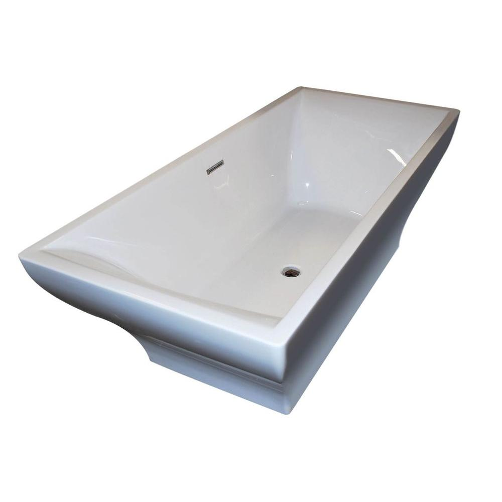 Acrylic Center Drain Rectangular Bathtub In White