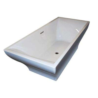 Garnet 6 ft. Acrylic Center Drain Rectangular Bathtub in White