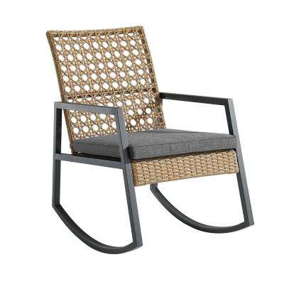 Light Brown Rattan Modern Patio Rocking Chair with Grey Cushion