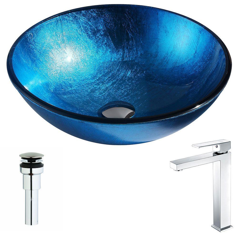 ANZZI Arc Series Deco-Glass Vessel Sink in Lustrous Light...