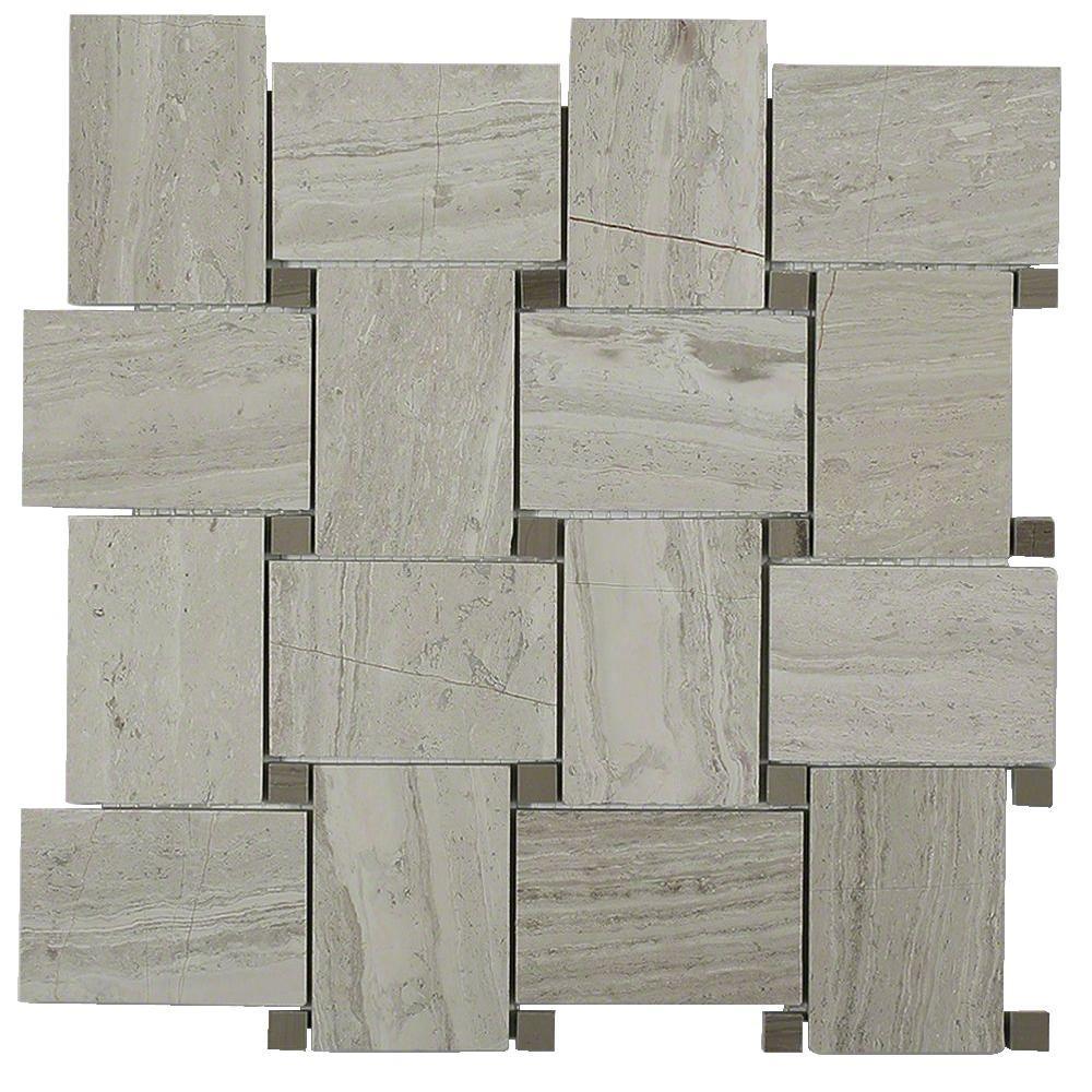 Splashback Tile Orchard Wooden Beige with Athens Gray Dot Marble ...