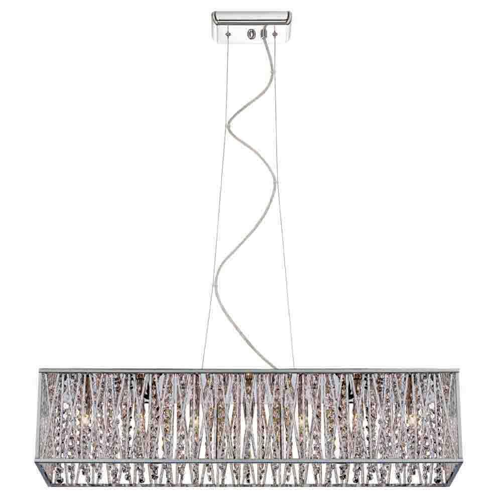 DSI 7-Light Chrome Rectangular Pendant with Woven Laser Cut Crystal  Shade-16368 - The Home Depot