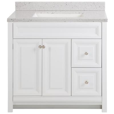 Brinkhill 37 in. W x 22 in. D Bathroom Vanity in White with Solid Surface Vanity Top in Silver Ash with White Sink
