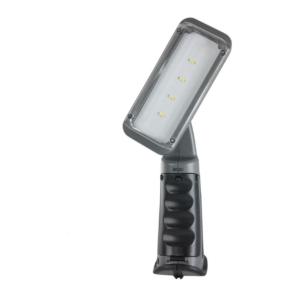 2W 10 in. Dark Grey Plastic Rechargeable Integrated LED Swiveling-Head Work