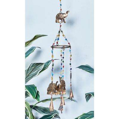 Rusted Brass Iron Elephants and Multi-Colored Glass Beads Wind Chime