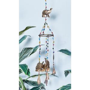 Rusted Brass Iron Elephants and Multi-Colored Glass Beads Wind Chime by